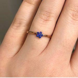 925 silver rose gold blue crystal flower Ring